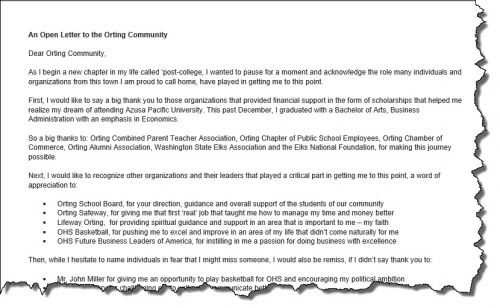 An open letter to the orting community orting news an open letter to the orting community thecheapjerseys Image collections
